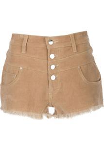 Amiri Short Cintura Alta De Veludo - Marrom