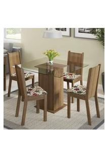 Conjunto Sala De Jantar Madesa Magda Mesa Tampo De Vidro Com 4 Cadeiras Rustic/Floral Hibiscos