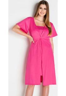 Vestido Com Torção Rosa Moda Evangélica
