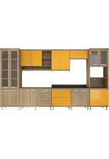 Cozinha Compacta Marianna 17 Pt 5 Gv Argila E Amarela