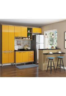 Cozinha Compacta Sicília 11 Portas 3 Portas Com Tampo E Bancada 5846 Amarelo/Argila - Multimóveis