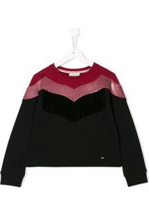 Pinko Kids Velvet Panel Sweatshirt - Preto