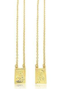 Escapulário Lys Lazuli N. Sra. Carmo Sagrado Coração Jesus Banhado Ouro - Unissex-Dourado