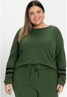 Casaco Verde Militar Com Estampa Plus Size
