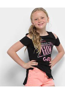 Camiseta Infantil Dimy Candy Com Termocolante Feminina - Feminino-Preto