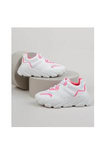 Tênis Feminino Oneself Sneaker Chunky Com Recortes Em Neon Branco