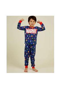 Pijama Infantil Manga Longa Vingadores Marvel Tam 4 A 10