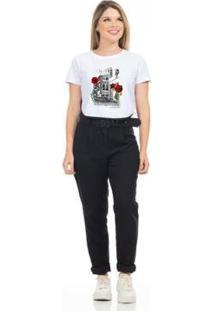 Camiseta Cropped Clara Arruda Viés Estampada 18020018 Feminina - Feminino-Branco