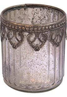 Castiçal Em Vidro Ornamentado Copo 8X9,5Cm