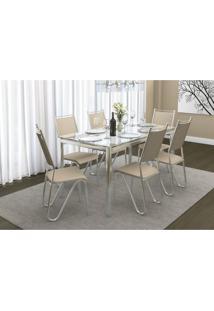 Conjunto Mesa Reno Com 6 Cadeiras Londres Nude E Cromado Kappesberg Crome