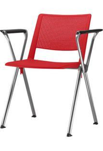 Cadeira Up Com Bracos Assento Vermelho Base Fixa Cromada - 54343 Sun House