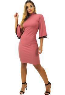 Vestido Racy Modas Curto Manga Flare Rosê