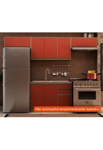 Cozinha Compacta Safira 7 Pt 3 Gv Vermelha E Avelã