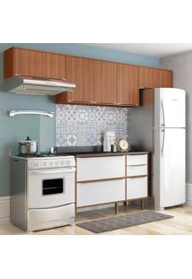 Cozinha Compacta C/ Tampo Sierra – Multimóveis. - Nogueira / Branco