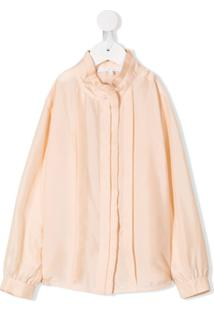 Chloé Kids Pleated Trim Blouse - Rosa