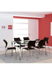 Conjunto De Mesa Com 6 Cadeiras Monalisa Preto