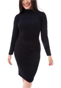 Vestido Moda Vicio Justo Manga Longa Gola Alta Feminino - Feminino-Preto