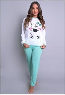Pijama Mvb Modas Longo Inverno Feminino - Feminino-Verde