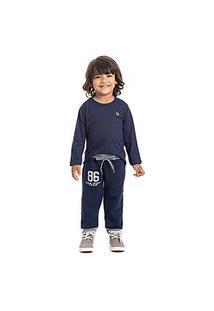 Calça Bebê Masculina Moletom Azul Marinho E Mescla 86 Com Punho (1/2/3) - Pimentinha Kids - Tamanho 2 - Azul Marinho