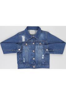 Jaqueta Jeans Infantil Destroyed Com Bolsos Azul Médio