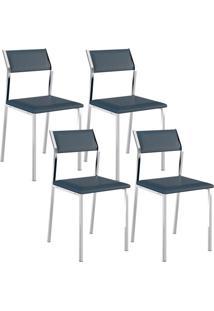 Cadeira 1709 Cromada 04 Unidades Azul Noturno Carraro