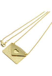 Gargantilha Carta Tudo Joias Folheada A Ouro 18K - Feminino-Dourado