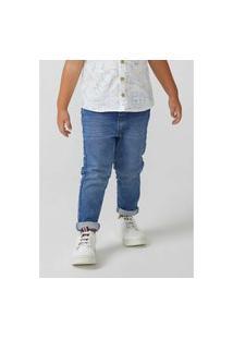 Calça Hering Moletom Jeans Infantil Skinny Toddler Azul