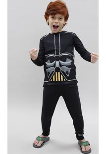 Pijama Infantil Darth Vader Star Wars Manga Longa Preto