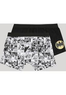 Kit De 2 Cuecas Boxer Infantis Batman Multicor