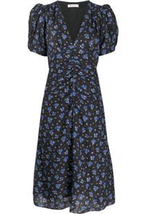 Masscob Vestido Com Estampa Floral E Detalhe Franzido - Preto