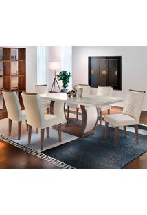 Conjunto De Mesa Com 6 Cadeiras Jade-Rufato - Veludo Creme / Off White / Café