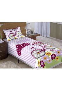Colcha/Cobre-Leito Cama Solteiro Bicicleta Com Flores Menina Com 2 Peças - Aquarela