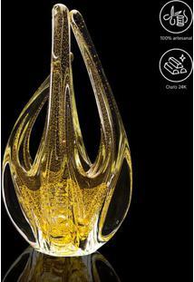 Escultura Assimétrica- Ouro & Incolor- 33Xø15Cm-Cristais São Marcos