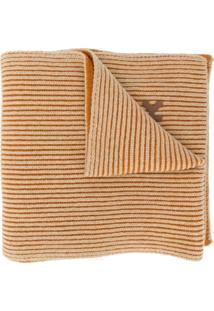 Kenzo Cachecol Canelado Bicolor De Lã - Laranja