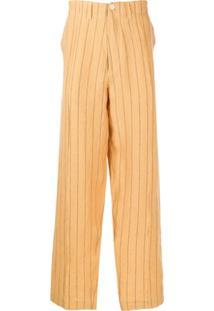 Nicholas Daley Calça Pantalona Com Listras - Amarelo