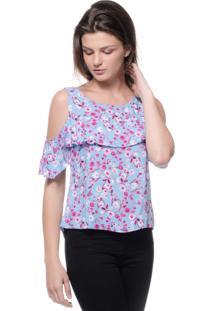 Blusa Estilo Boutique Viscose Babados Floral Azul