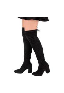 Bota Over The Knee Damannu Shoes Amalia Suede Preto