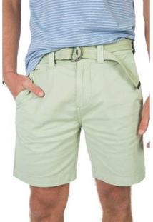 Bermuda Taco Chino Flex Com Cinto Masculina - Masculino-Verde