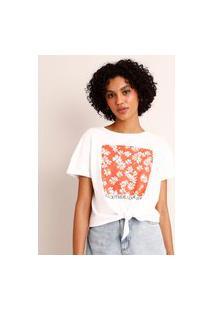 """Camiseta Cropped De Algodão Margaridas """"Go Outside Look Inside"""" Com Nó Manga Curta Decote Redondo Branca"""