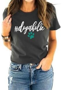 Camiseta Dogaholics Buddies Feminina - Feminino-Chumbo