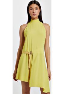 Vestido De Crepe Assimétrico Curto Amarelo Yoko
