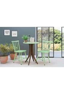 Mesa Bistrô Redonda Com 2 Cadeiras Juliette - Nogueira E Verde Sálvia