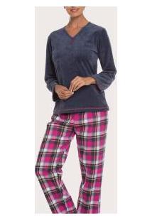 Pijama Longo Xadrez Podiun (5857) Flanela Com Tecido Aveludado