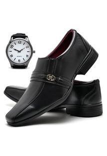 Sapato Social Glamour Com Relógio New Dubuy 806Od Preto