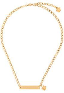 Versace Colar Com Placa De Logo - Dourado