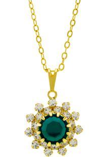 Gargantilha Horus Import Girassol Dourado/Verde