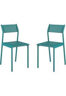 Conjunto 2 Cadeiras Tubo Turquesa Napa Turquesa Carraro