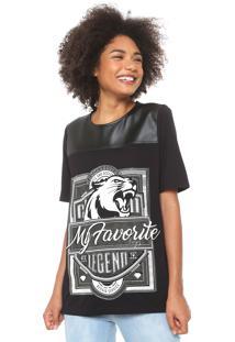 Camiseta My Favorite Thing(S) Estampada Com Recorte Resinado Preta