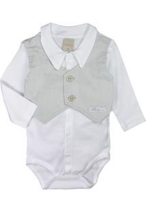 Body Camisa De Beb㪠Com Coletinho Branco E Cinza Cute - Branco - Menino - Dafiti