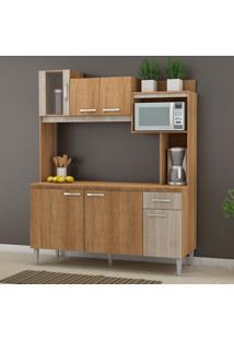 Cozinha Compacta Angel Com Tampo 6 Pt 1 Gv Carvalho E Bege
